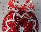Quilted Ornaments Valentine's Day Quilt Ball Red Bandana Handmade Beaded Hanger Double Heart Key Charm