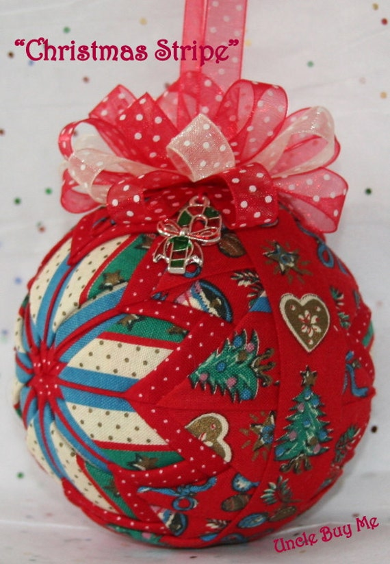 Quilted ornaments quilt ball christmas stripe with