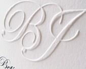 Embossed wedding invitations Custom Monogram