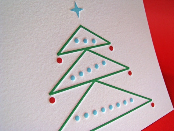 Set of 6 Christmas Tree Cards