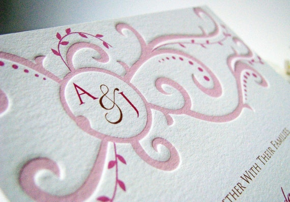 Monogram Scroll Pressed Wedding Invitation and RSVP
