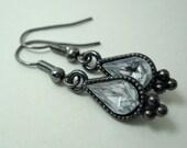Silver Teardrop Earrings Gunmetal