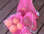 4 Pack Reusable Produce Bags Mesh Pink
