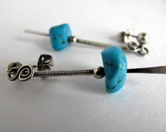 Turquoise Earrings, Sterling Silver Post Earrings, Long Stick Earrings Handmade Jewelry