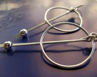 Large Sterling Silver Hoop Earrings - Pendulum