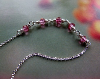 Delicate Sterling Silver Necklace, Pink Topaz Gemstone Necklace, Handmade Jewelry