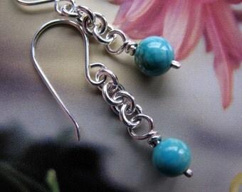 Turquoise Sterling Silver Earrings, Dangle Chain Earrings, Sky Blue