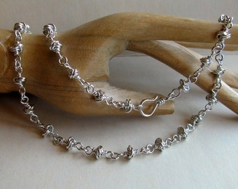 Solid Sterling Silver Chain Necklace, Handmade Silver Knot Chain, Chainmaille Wire Wrapped Jewelry