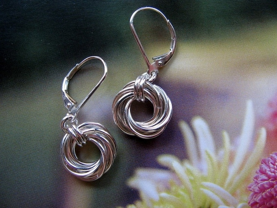 Small Round Sterling Silver Earrings, Mobius Flower Earrings, Handmade Jewelry, Love Knot Earrings