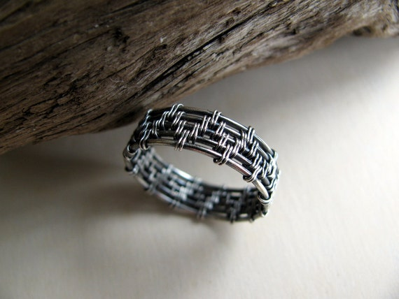 Sterling Silver Ring, Handwoven Wire Work, Oxidized, Size 7