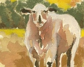 Lamb watercolor portrait of sheep on paper original watercolor sheep art sheep decor childrens room decor