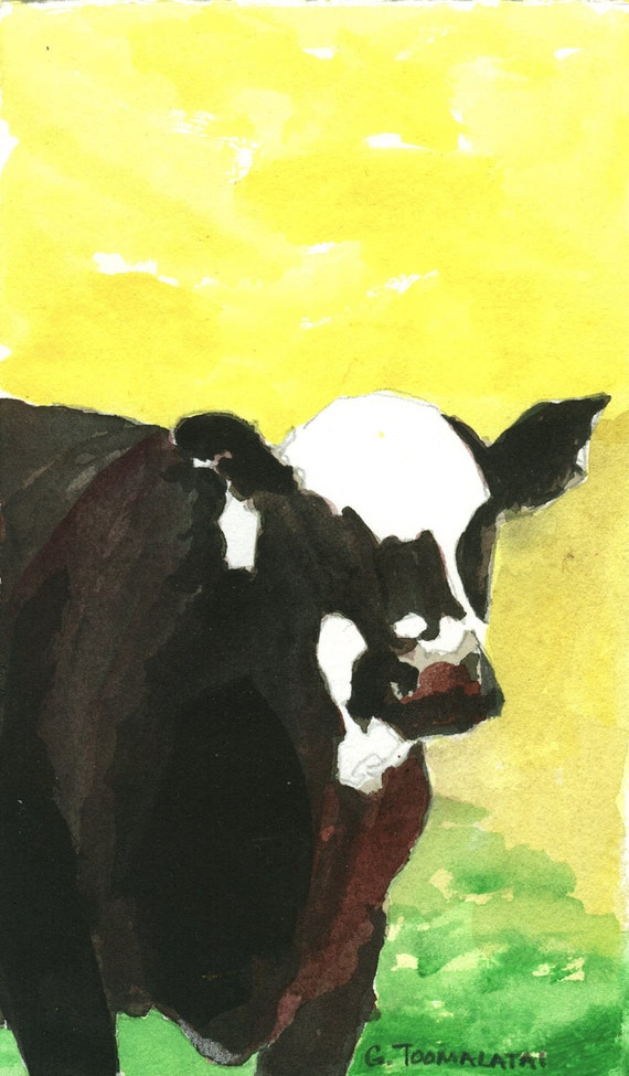 Cow painting cow art cow picture Black white faced cow watercolor acrylic painting yellow background angus cow