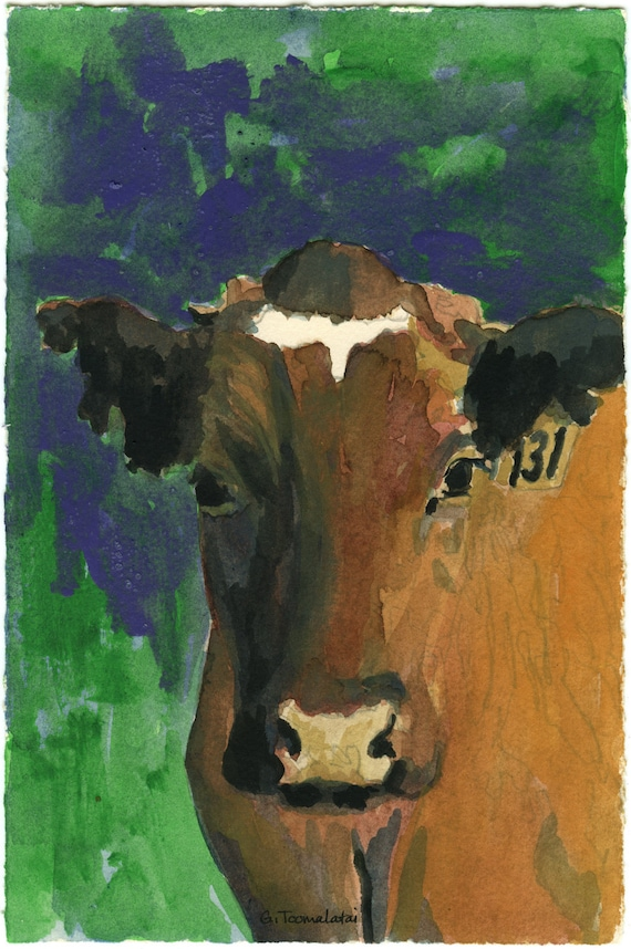 Red Orange Cow with purple green background original watercolor with acrylic paint
