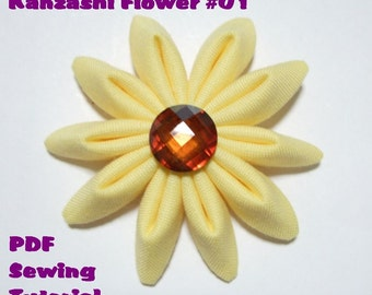 Instant Download - PDF Tutorial - Kanzashi Fabric Flower 01 Sewing Pattern - Letter-Size Paper Format