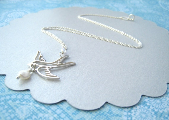 Sterling Silver Flying Swallow Necklace