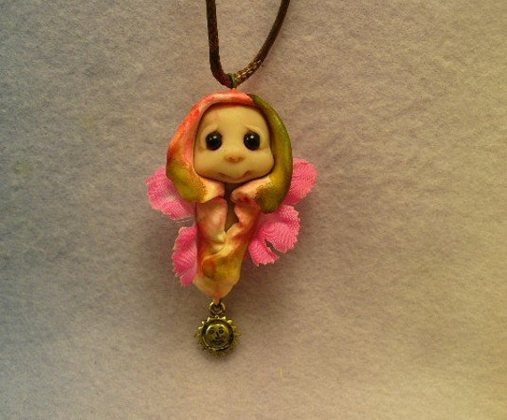 Nature spirit  Flower Fairy Pendant and cord one of a kind polymer clay art