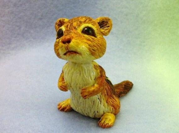 A little chipmunk animal polymer clay sculpture original by Trolltracks