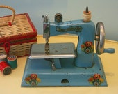 1940s KAY-an-EE Sew Master Toy Sewing Machine, Blue with Flower Decals