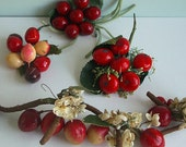 Lot of 4 Vintage Millinery Red Fruit Berry Clusters