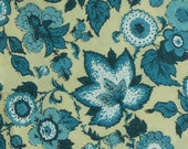 1970s Fabric Yardage with Teal Blue Flowers, 2.75 Yards