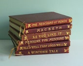 1906-1920 Set of The Temple Shakespeare, Six Works Bound in Dark Red Leather
