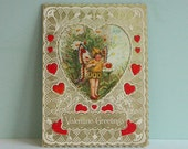 Rare 1932 Valentine's Day Card, A Winged Butterfly Fairy in a Daisy Patch