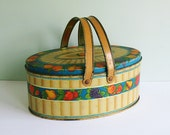 Tindeco Small Oval Lunch Box or Picnic Tin with a Fruit Pattern and Two Handles