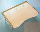 On reserve for geluk: Adjustable Folding Bed Tray Table or Lap Desk, Peach with Pink Roses