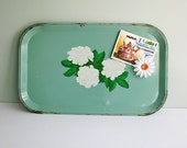 Shabby Jadeite Green Metal Serving Tray with White Flowers
