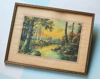 1930s Framed Landscape Print of Trees and a Stream in Green, Aqua Blue, Yellow, Brown and Orange