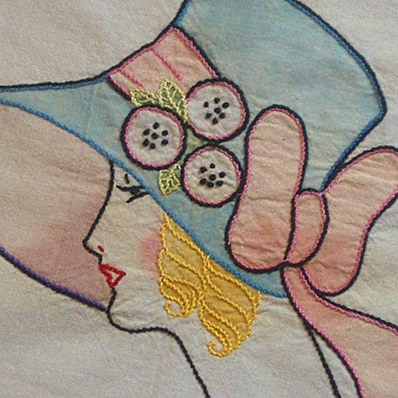 On Reserve for SeaShack: Exceptional 1920s Tinted Dresser Scarf with a Beautiful Blond Lady Wearing a Cloche Hat