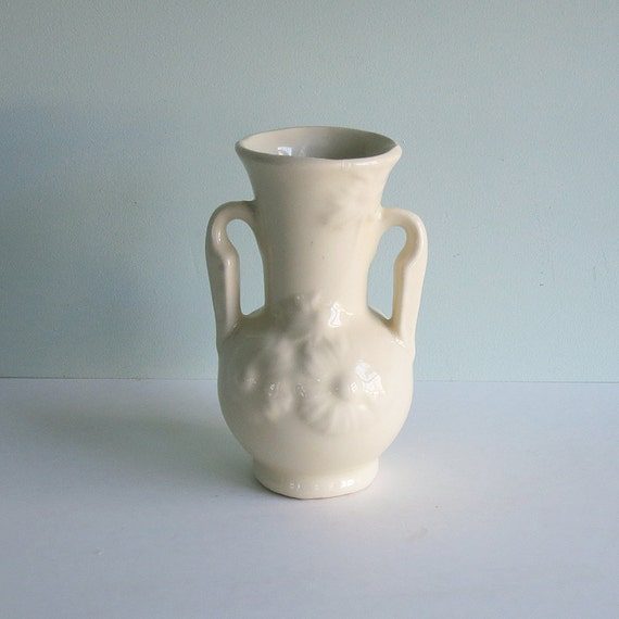 1940s Shawnee Pottery Small White Vase With Embossed Flowers