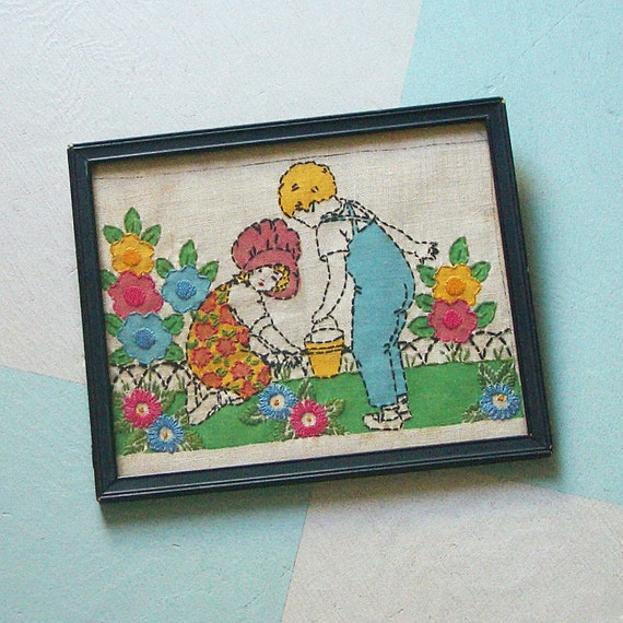On Reserve for withneedleandthread: Vintage Vogart Pattern Linen Stitchery Picture of Two Children in the Garden