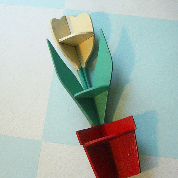 On Reserve for withneedleandthread: Folk Art Corner Shelf, a Handmade Wooden Tulip