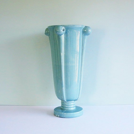 1940s Art Deco Vase, Light Blue with Four Knobby Handles