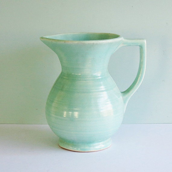 Vintage Farmhouse Pottery Pitcher or Vase in Light Green