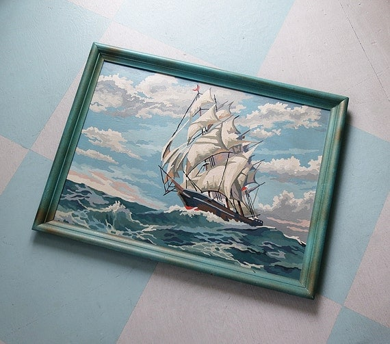 Large Framed Paint By Number Clipper Ship Painting, a Sailing Vessel on the High Seas