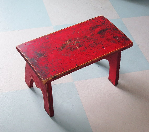 Rustic Wooden Foot Stool With Red Paint