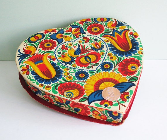 On reserve for gracefulfig: Vintage Czech Heart Shaped Candy Box with a Moravian Design of Flowers and Birds