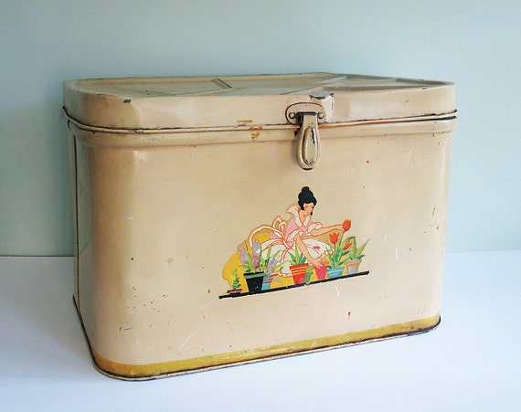 1940s Shabby Metal Bread Bin with a Vintage Lady Decal