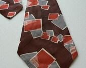 vintage 1940s men's necktie brown rayon tie art deco