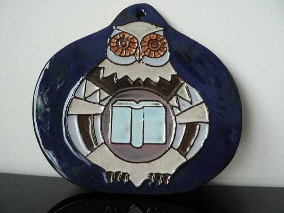 vintage mid century dutch modernist ceramic owl tile pottery