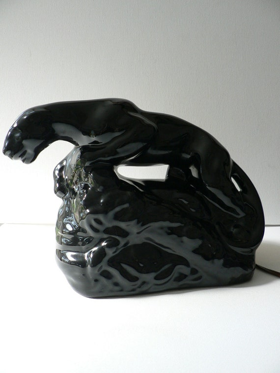 Reserved For Jill Vintage 1950s Black Panther Tv Lamp Figurine