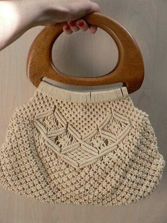 vintage 1970s white cream crocheted handbag with wood handles