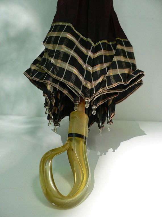 art deco 1930s darkbrown umbrella with yellow lucite handle