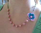 ON SALE . Sweet Celine Necklace . Vintage asymmetrical pink and teal enamel flower with vintage pink acrylic beads