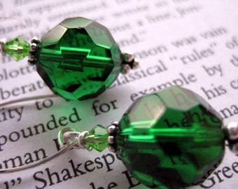 ON SALE . Fir Tree . Gorgeous Green Glass, Sterling Silver and Swarovski Crystal Earrings