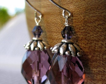 Plum . Glass and Crystal Earrings in Plum Purple and Sterling Silver