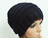 Buy 1 get 2nd for 19.99 buy 2 get 3rd for 9.99-Hand knit woman Black Knit Wool Hat-ready to ship