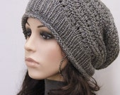 Hand Knit hat woman hat winter hat Charcoal Wool Hat dark grey slouchy hat -ready to ship